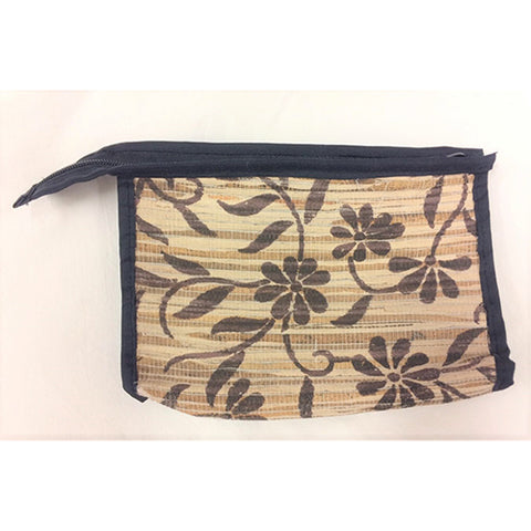 hand purse - banana skin - brown flower motif - small
