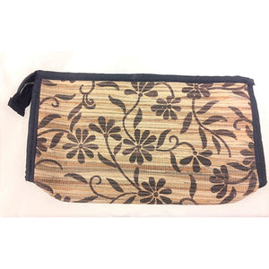hand purse - banana skin - brown flower motif - large