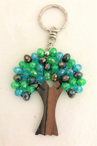 key ring - tree round bead - green/blue