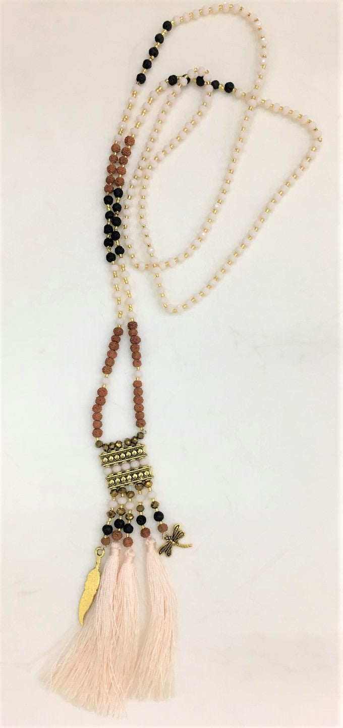 necklace - white - crystal/mala/gold square - long