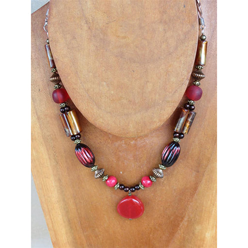 necklace - red bead w/ copper/amber