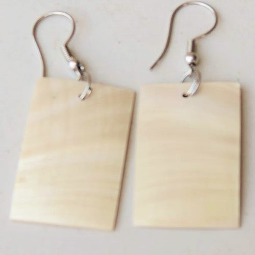 earring - white shell - square