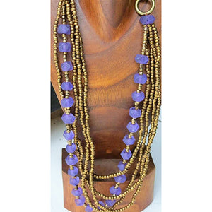 necklace - purple - gold bead small w/ glass bead
