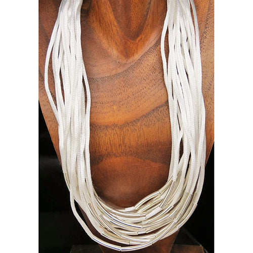necklace - silk strings - white - long metal beads