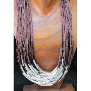 necklace - silk strings - dark brown - long metal beads