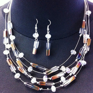 necklace/earring SET - clear/brown cylinder - nugget stone on wire