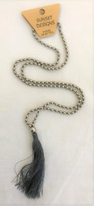 necklace - grey - silver ball bead w/ string tassle