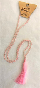necklace - light pink - crystal bead small - w/ tassle