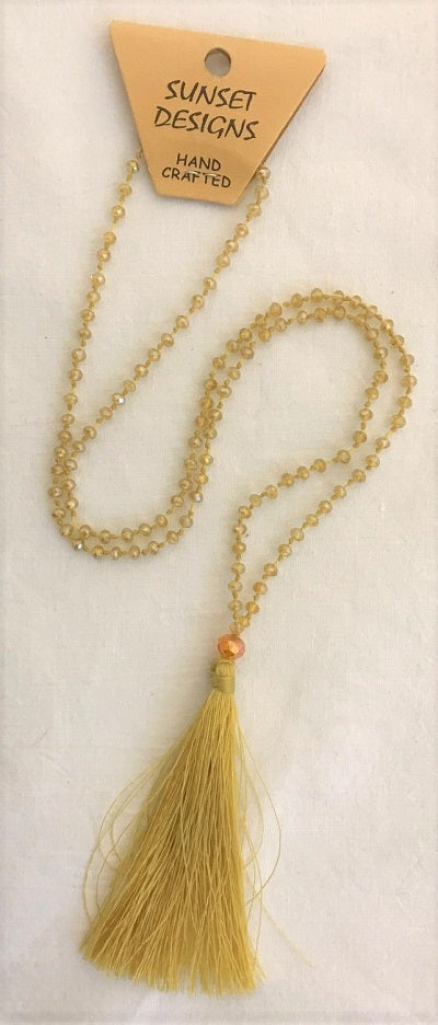 necklace - cream - crystal bead small - w/ tassle