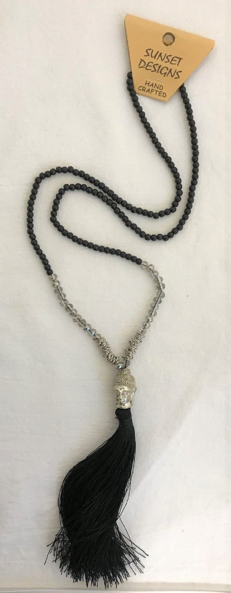 necklace - black - silver budha head - clear crystal/metal ring beads - string tassle