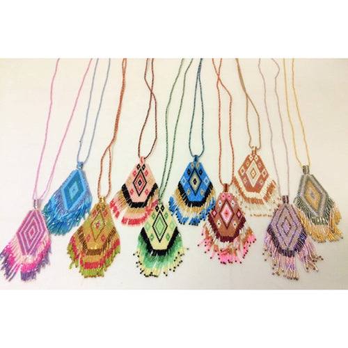 North American Inspired Flat Beaded Necklaces