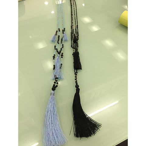 necklace - long w/ lava stone - black - w/ tassle