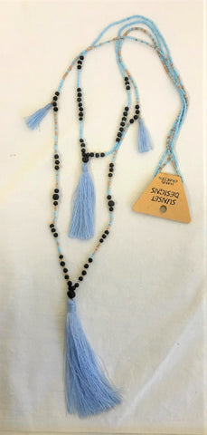 necklace - long w/ lava stone - light blue - w/ tassle