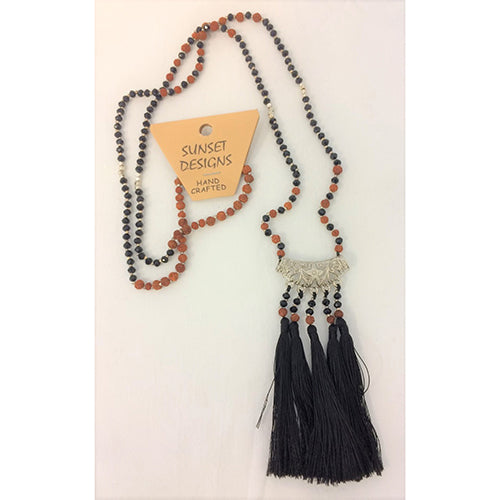Black Crystal Bead 5 Tali Necklace