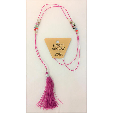 necklace - pink - crystal bead - string tassle