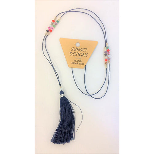 necklace - dark blue - crystal bead - string tassle