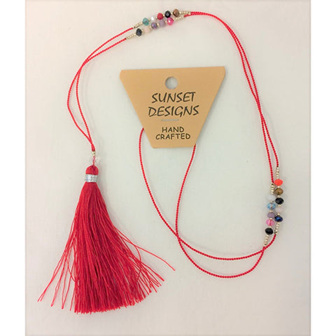 necklace - red - crystal bead - string tassle