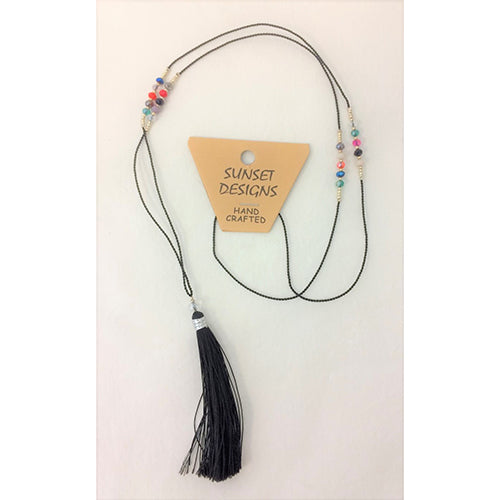 necklace - black - crystal bead - string tassle