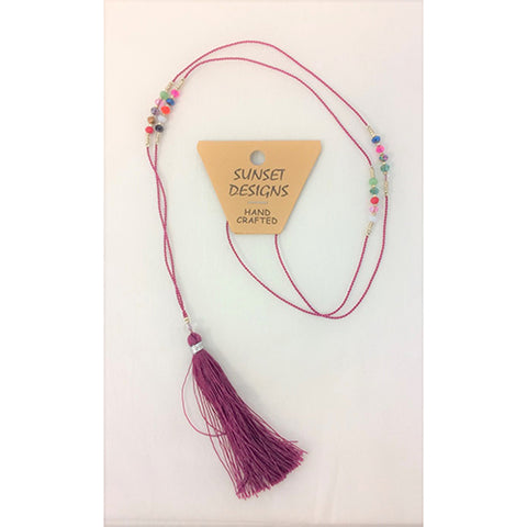 necklace - burgundy - crystal bead - string tassle