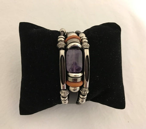bracelet - amethyst (light purple) - leather w/ stone & bead