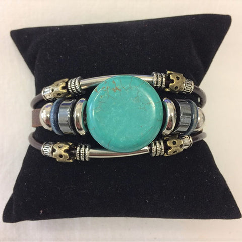 bracelet - blue turquoise round - leather w/ stone & bead