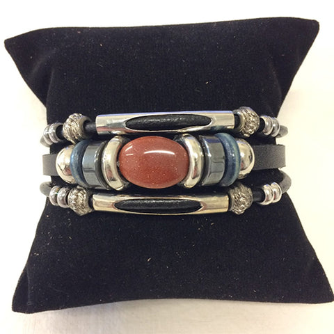bracelet - copper (jasper) stone - leather w/ stone & bead