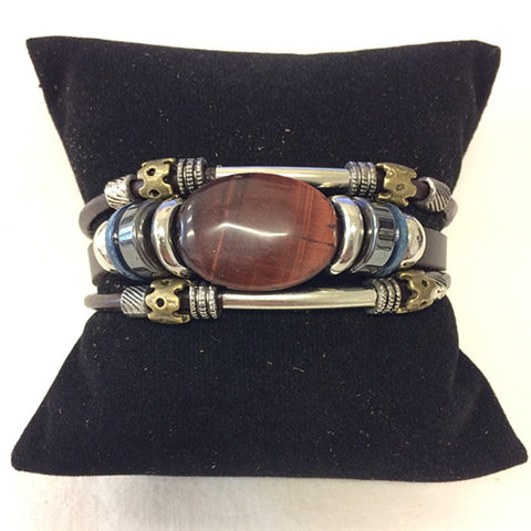 bracelet - red tiger eye - leather w/ stone & bead