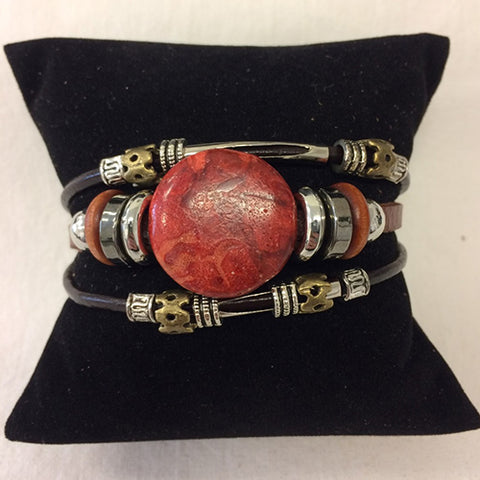 bracelet - red coral - leather w/ stone & bead