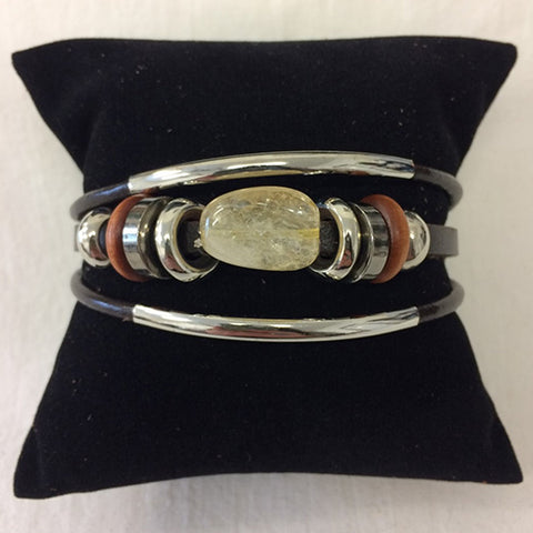 bracelet - citrine (clear) stone - leather w/ stone & bead
