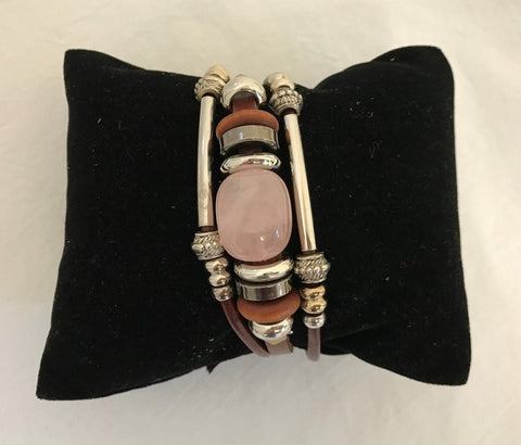 bracelet - rose quartz stone - leather w/ stone & bead