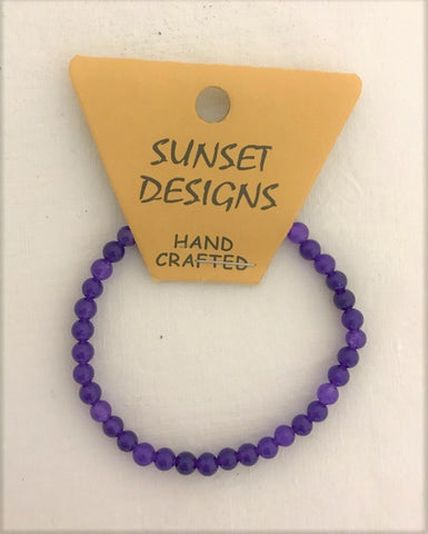 bracelet - purple - mini round stone bead