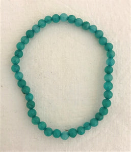 bracelet - blue/green - mini round stone bead