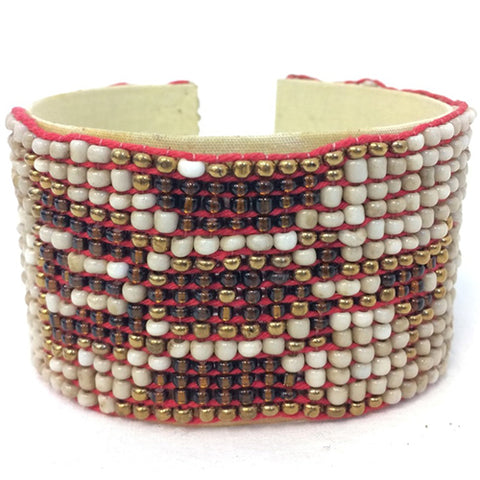 bangle - navaho - cream/brown/gold - cuff