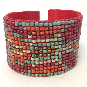 bangle - navaho - red/turq/orange/cream - cuff
