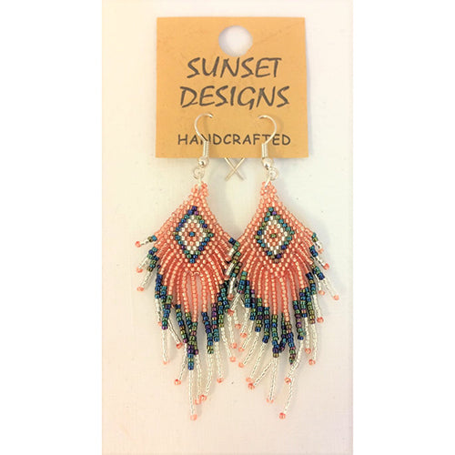 earring - navaho - salmon/grey
