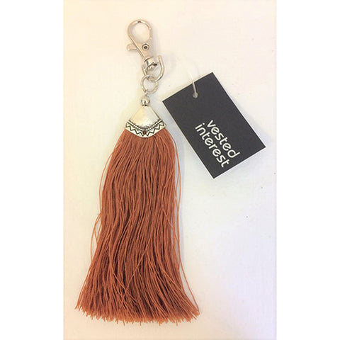 key ring clip - long tassle - brown