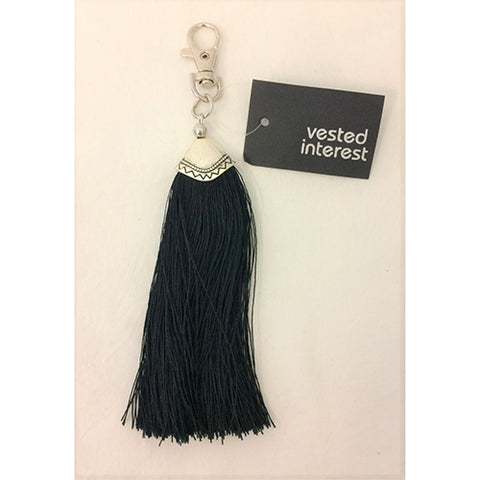 key ring clip - long tassle - black