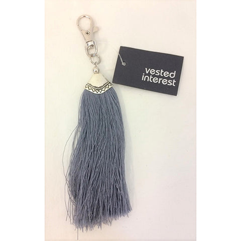 key ring clip - long tassle - grey