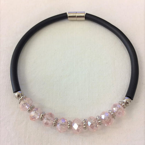 bracelet - crystal bead - pink - magnetic closure