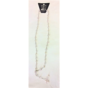 necklace -  rose quartz/white - long single stone strand w/ clasp - adjustable