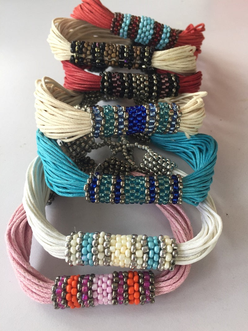 bracelet - multi string/colourful tube bead