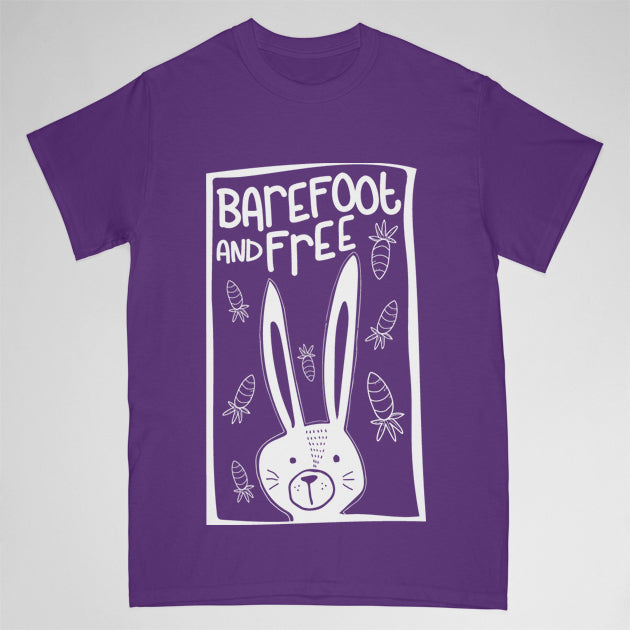 """barefoot & free"" tshirt - childrens medium"