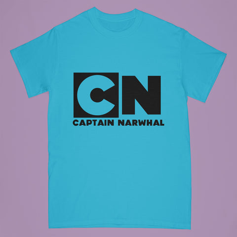 """Captain Narwhal"" tshirt - blue - Adult small"