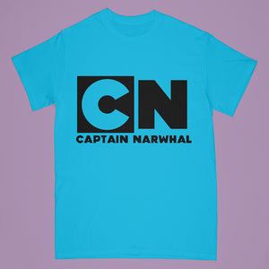 """Captain Narwhal"" tshirt - blue - Adult large"