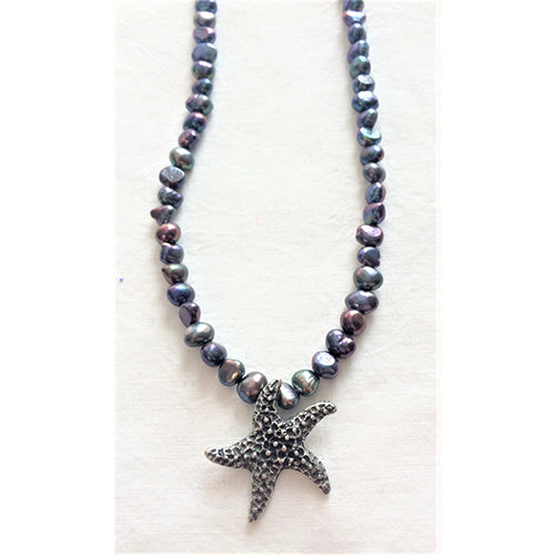 FF - sea star - grey pearl necklace
