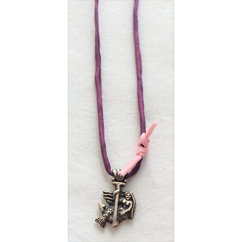 FF - mermaid with anchor - silk cord necklace