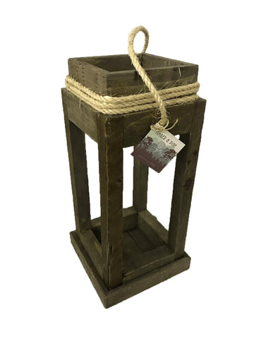 lantern w/rope handle - STAINED