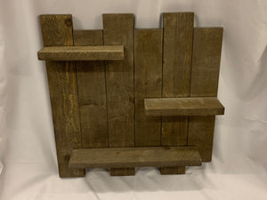 "staggered 3 shelf for wall -24""x25"" STAINED"