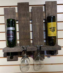 "Wine & glass rack - STAINED - 18""x18""x5"""