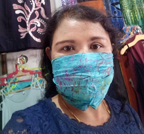 face mask - batik - washable/comfortable/easy to wear/convert to hairband